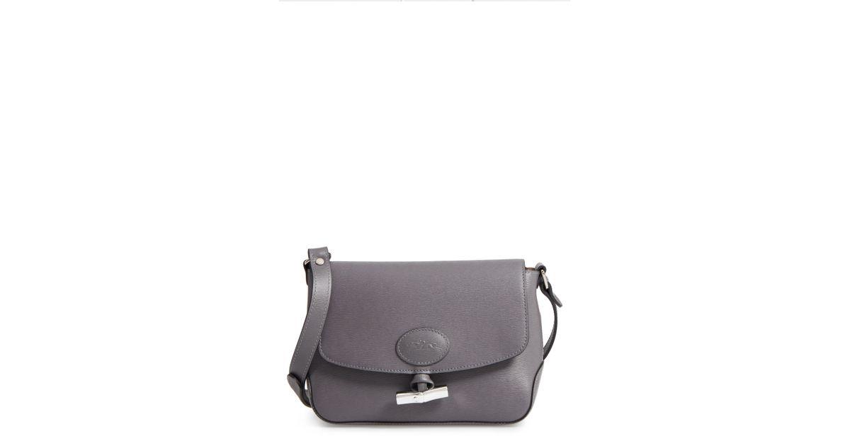 e423f5bbf2 Lyst - Longchamp Roseau Leather Crossbody Bag in Gray