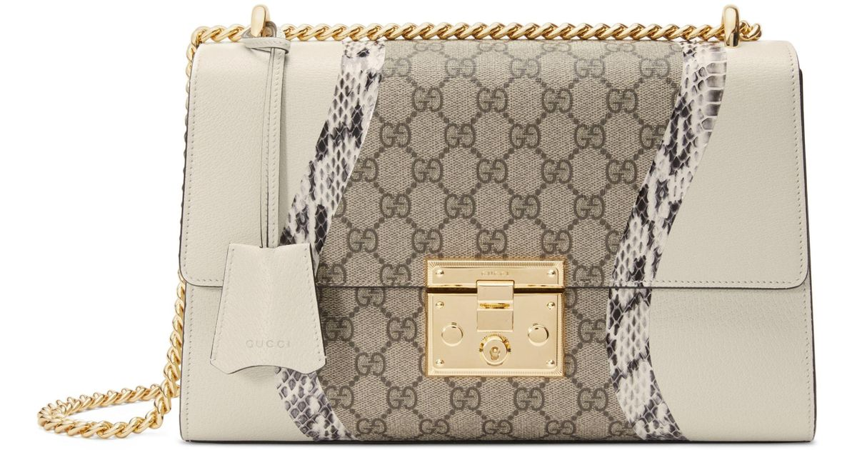 a4e9b9a51b9 Lyst - Gucci Medium Padlock Gg Supreme Wave Shoulder Bag With Genuine  Snakeskin Trim in Natural