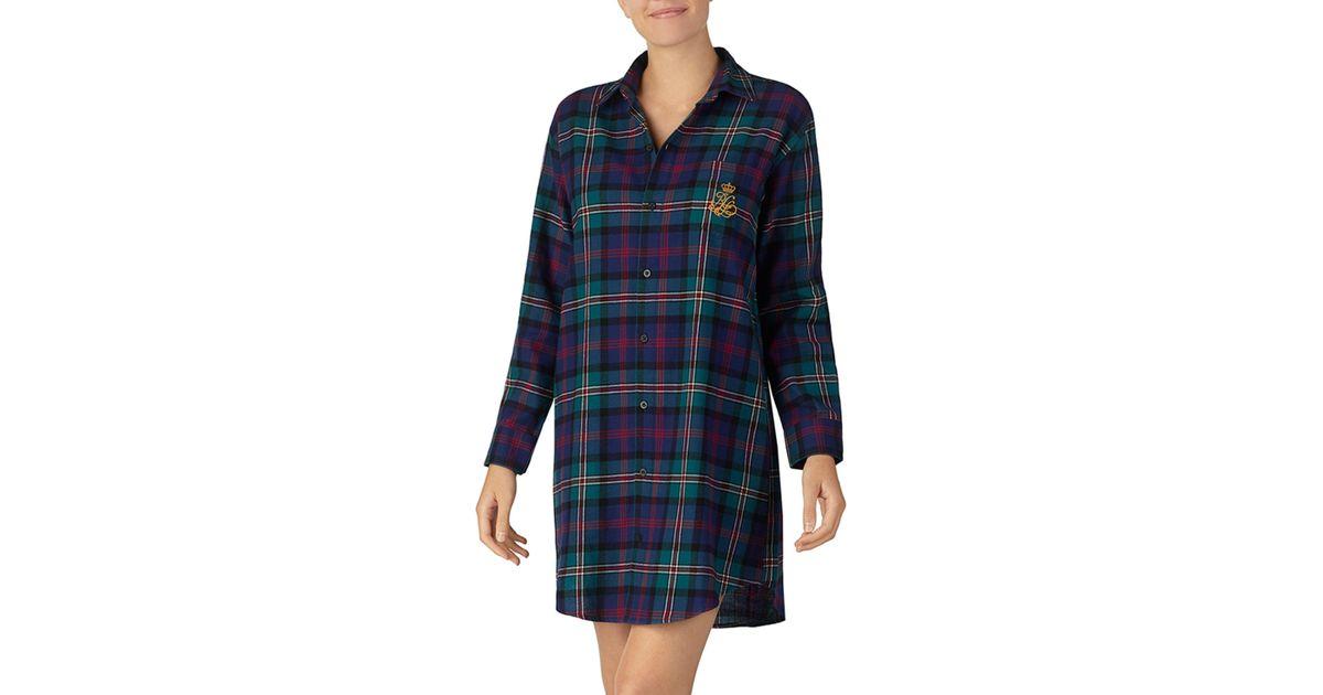 Lyst - Lauren by Ralph Lauren Plaid Flannel Sleep Shirt in Green 645e60080