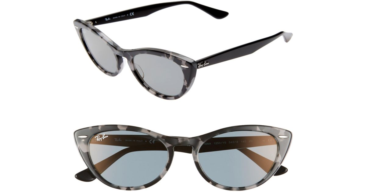 4e36779555 Lyst - Ray-Ban Nina 54mm Cat Eye Sunglasses - Havana Gialla Solid