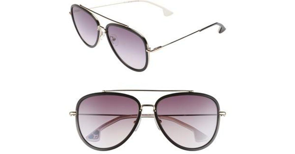 9b5490837e Lyst - Alice + Olivia Lincoln 58mm Aviator Sunglasses in Black