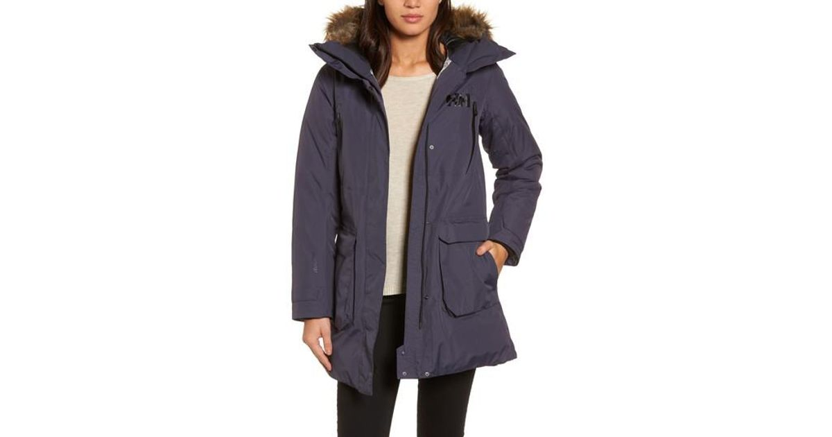 discount coupon 100% quality quarantee quality first Helly Hansen Blue W Spitsbergen Ii Faux Fur Trim Down & Feather Fill Parka