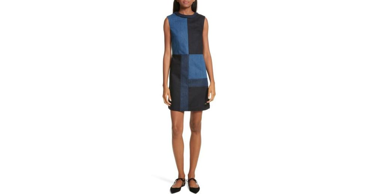 7f562e1992 Lyst - Ted Baker Ted Baker Morfee London Colorblock Denim A-line Dress in  Blue