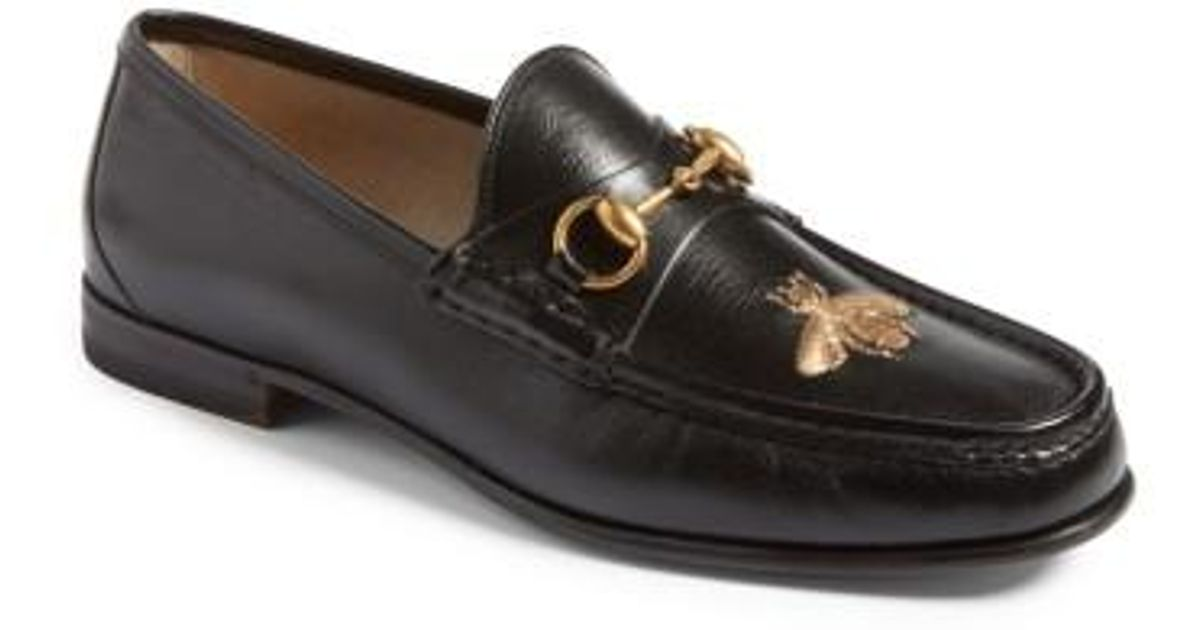 de7104a50 Gucci Bee Loafer in Black for Men - Lyst
