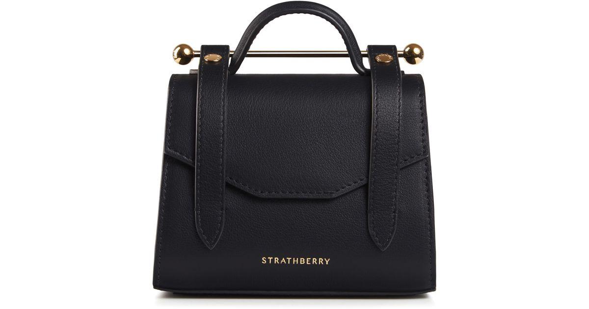 Strathberry Black Micro Allegro Calfskin Leather Tote