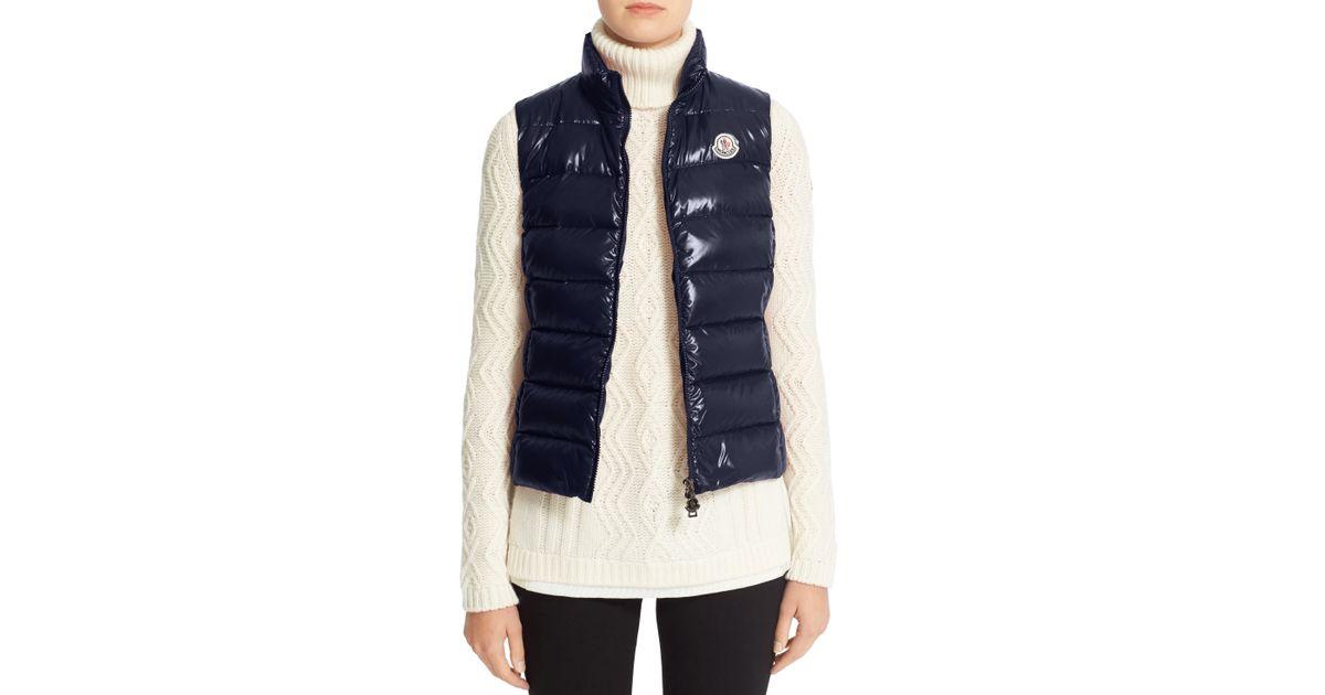 68415e9e9486 Moncler Ghany Water Resistant Shiny Nylon Down Puffer Vest in Blue - Lyst