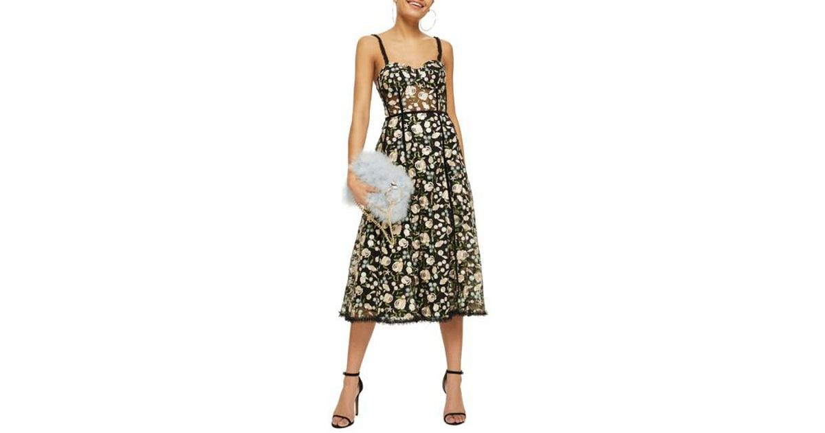 a19625c33978 TOPSHOP Floral Corset Midi Dress in Black - Lyst
