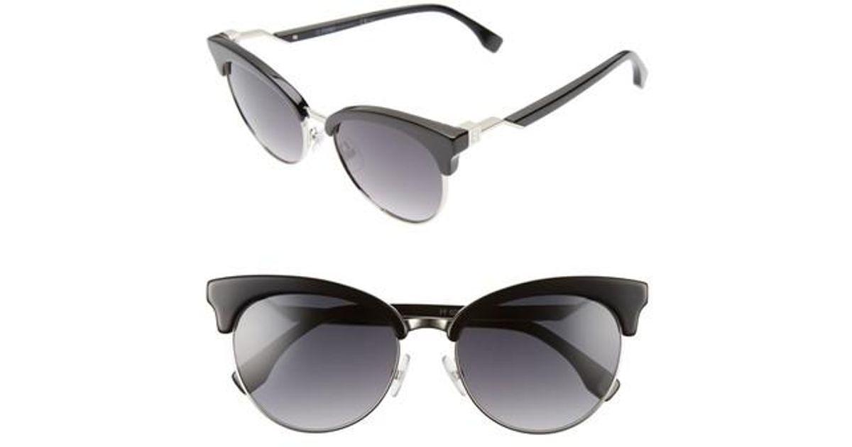 8476f1b0f07a Lyst - Fendi 55mm Gradient Lens Cat Eye Sunglasses in Black