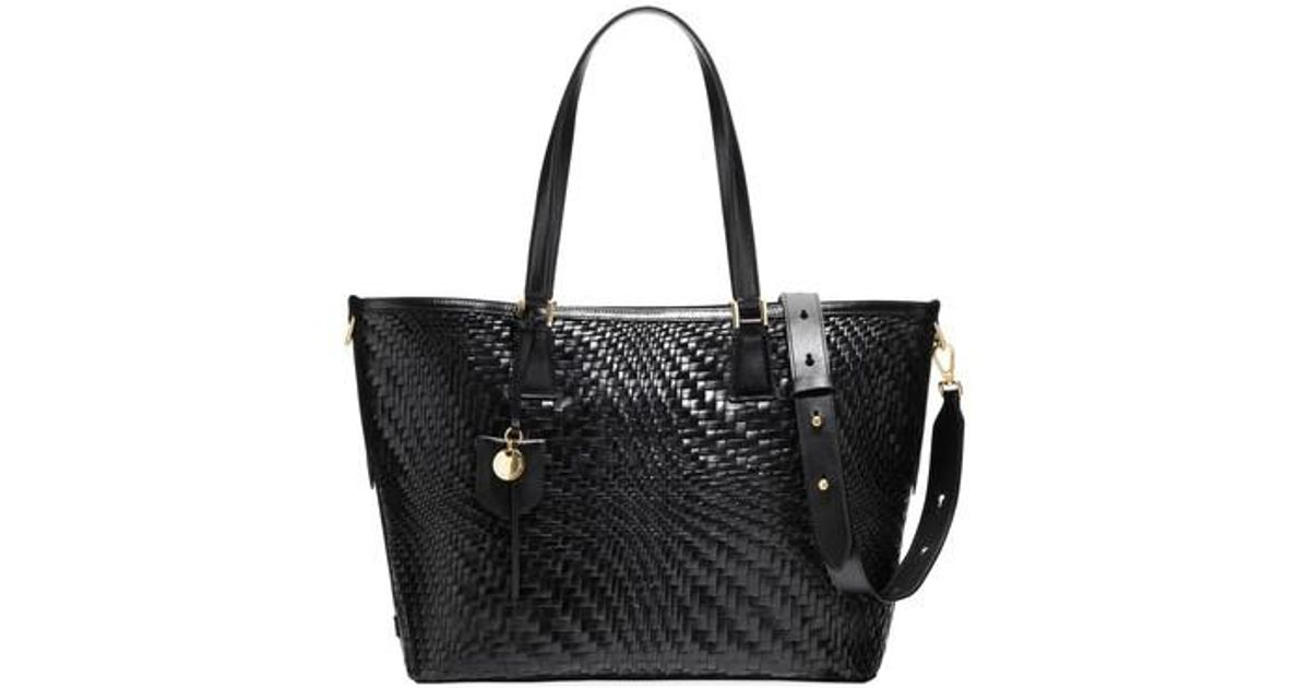 5e56723301 Cole Haan Genevieve Key Item Woven Leather Tote in Black - Lyst