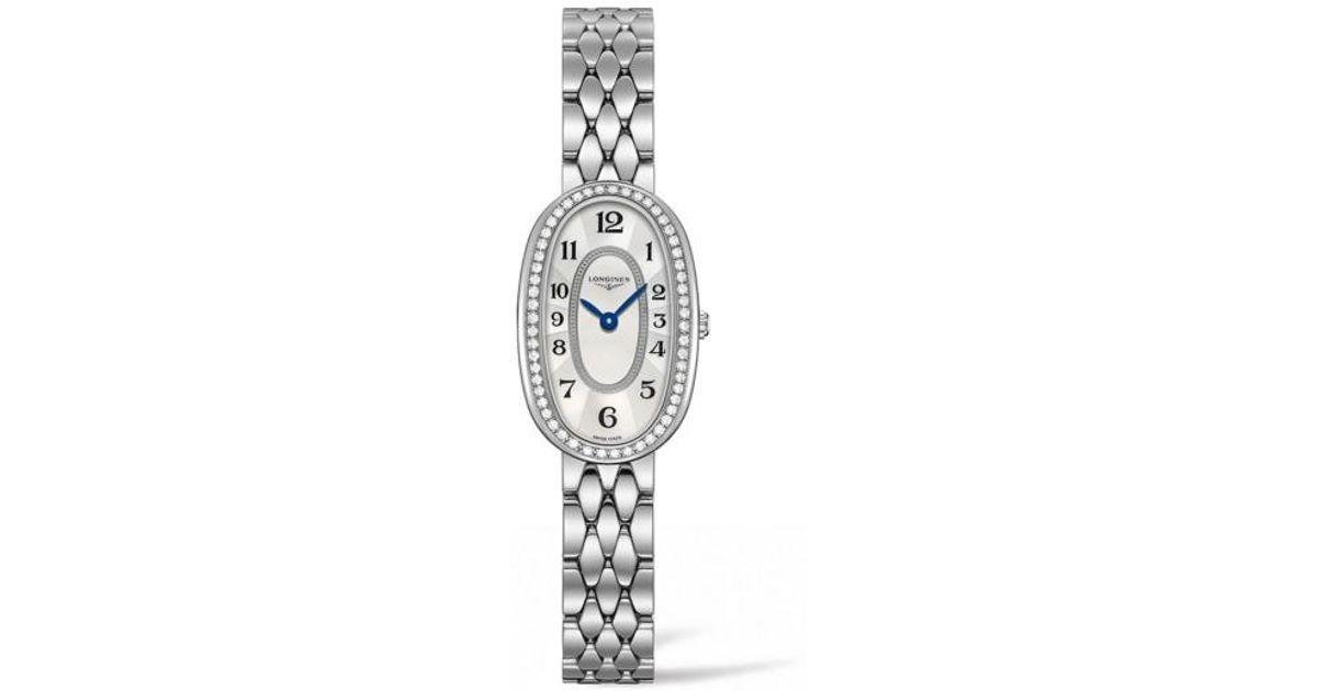 908e6a896 Lyst - Longines Symphonette Diamond Bracelet Watch in Metallic