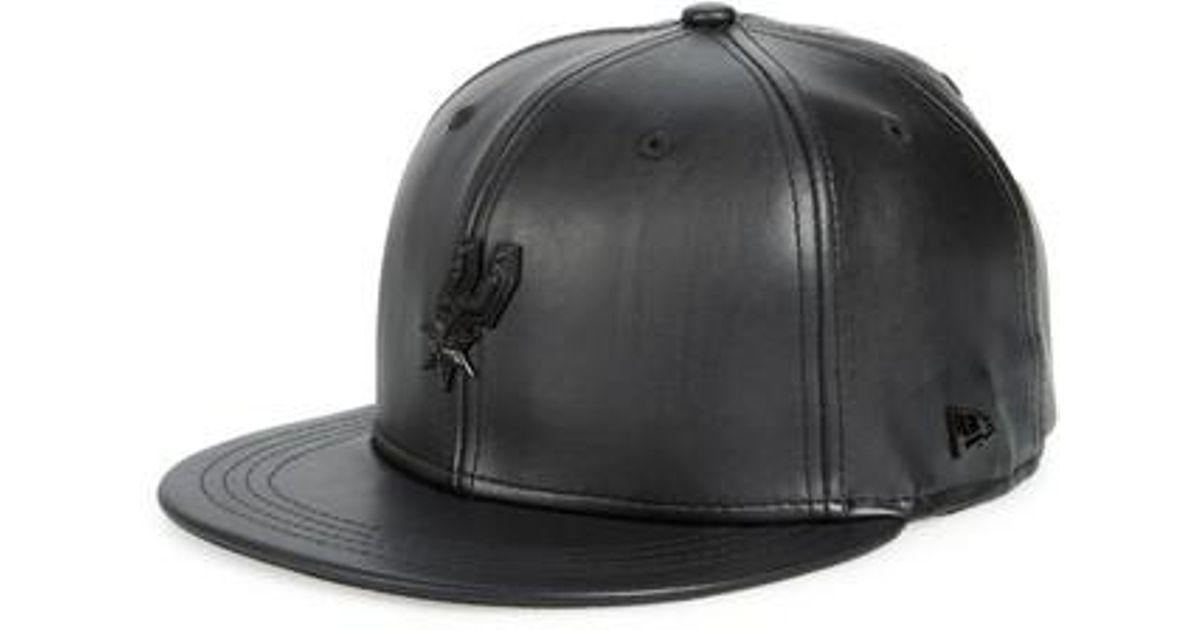 97f00709476 Ktz New Era Nba Glossy Faux Leather Snapback Cap in Black for Men - Lyst