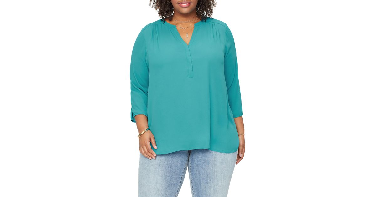 74dc5986f634a Lyst - NYDJ Curves 360 By Perfect Blouse in Blue