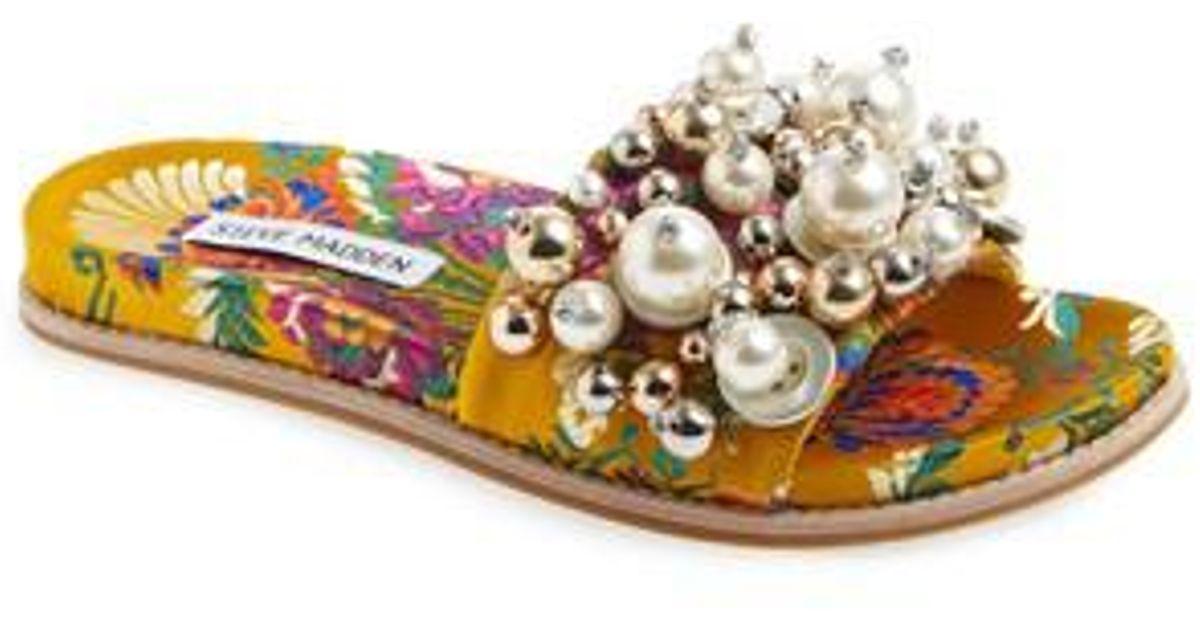 8ed1ea53d19 Lyst - Steve Madden Delicate Embellished Slide Sandal