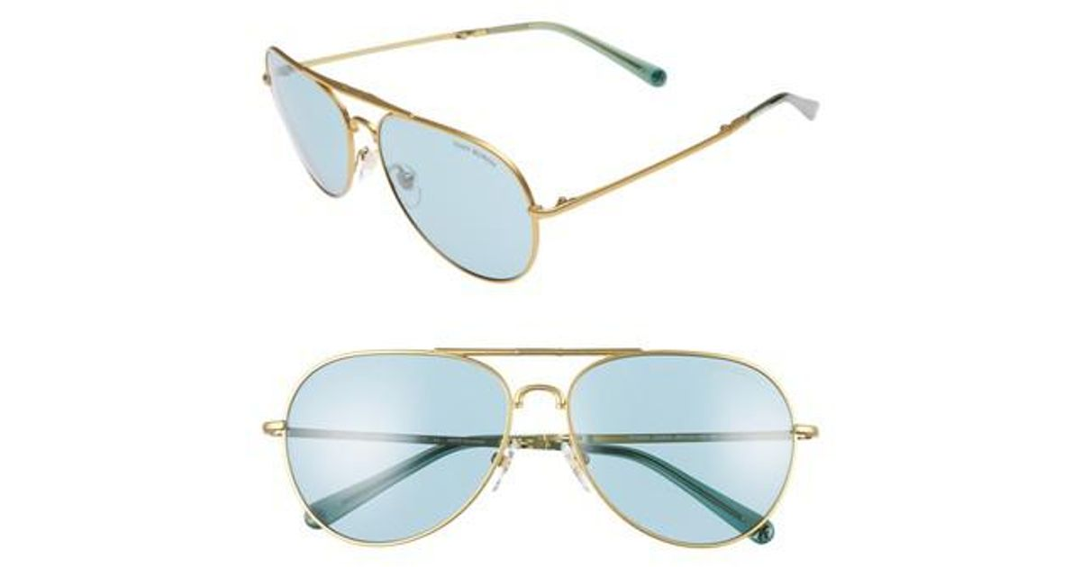 28799dc90b89 Lyst - Tory Burch 58mm Foldable Aviator Sunglasses - Brass in Blue