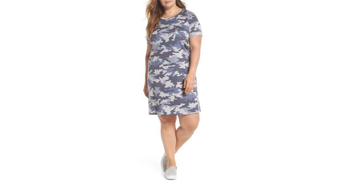 88ea9e9f8ca Lyst - Caslon (r) Camo T-shirt Dress (plus Size) in Blue