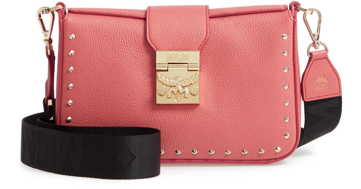 Lyst - MCM Xs Park Avenue Kasion Stud Leather Crossbody Bag - Coral in Pink 468436d064789