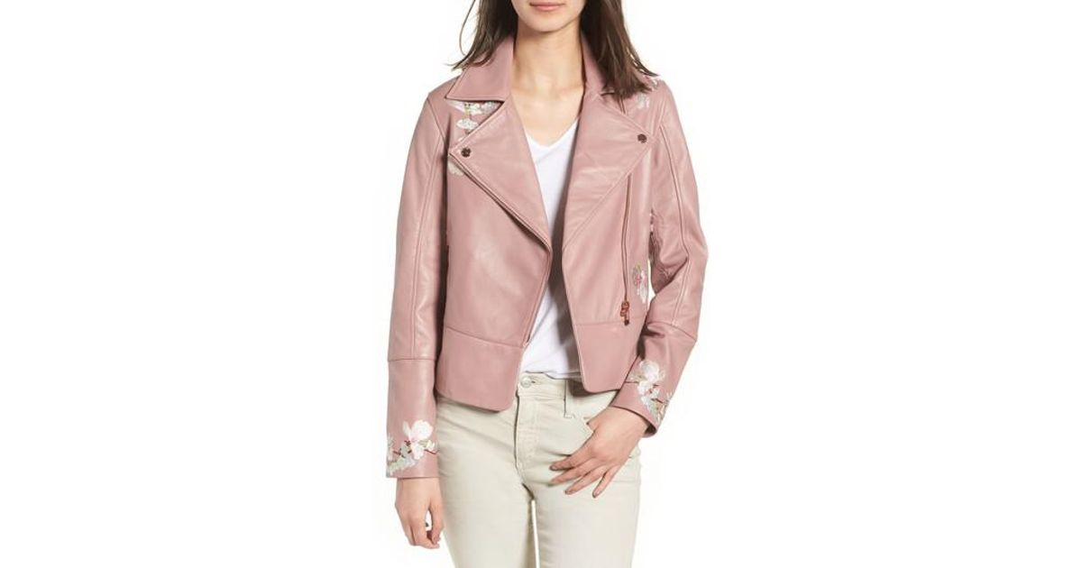 clearance prices sneakers for cheap great deals Ted Baker Pink Harmony Embroidered Leather Biker Jacket