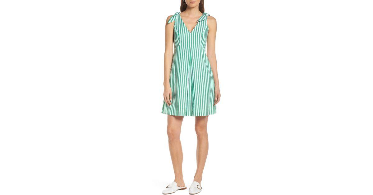 92f8e990c9eb Lyst - Nordstrom 1901 Stripe Tie Shoulder Dress in Green