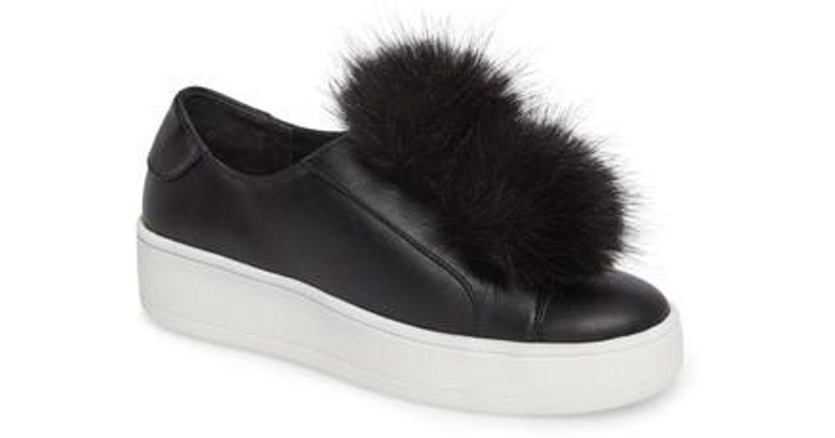 6ff40d1ccaa Lyst - Steve Madden Breeze Faux Fur Pom Sneaker in Black