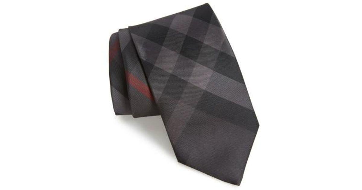 5847e13fc84b ... australia lyst burberry clinton check silk tie in gray for men a1523  c7507