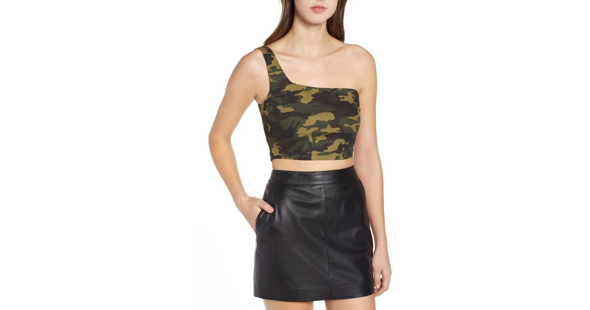 37bee78e5f688 Lyst - Tiger Mist Keegan Camo One-shoulder Top in Green - Save 46%