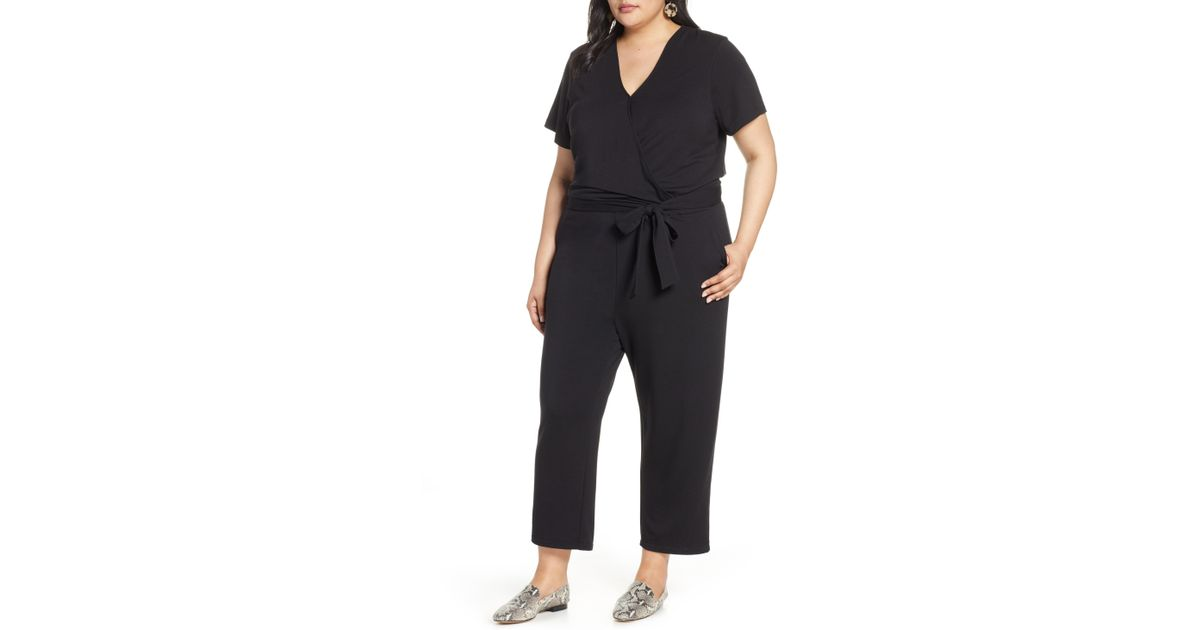 57e70bd956f Lyst - Halogen Halogen Faux Wrap Knit Jumpsuit in Black