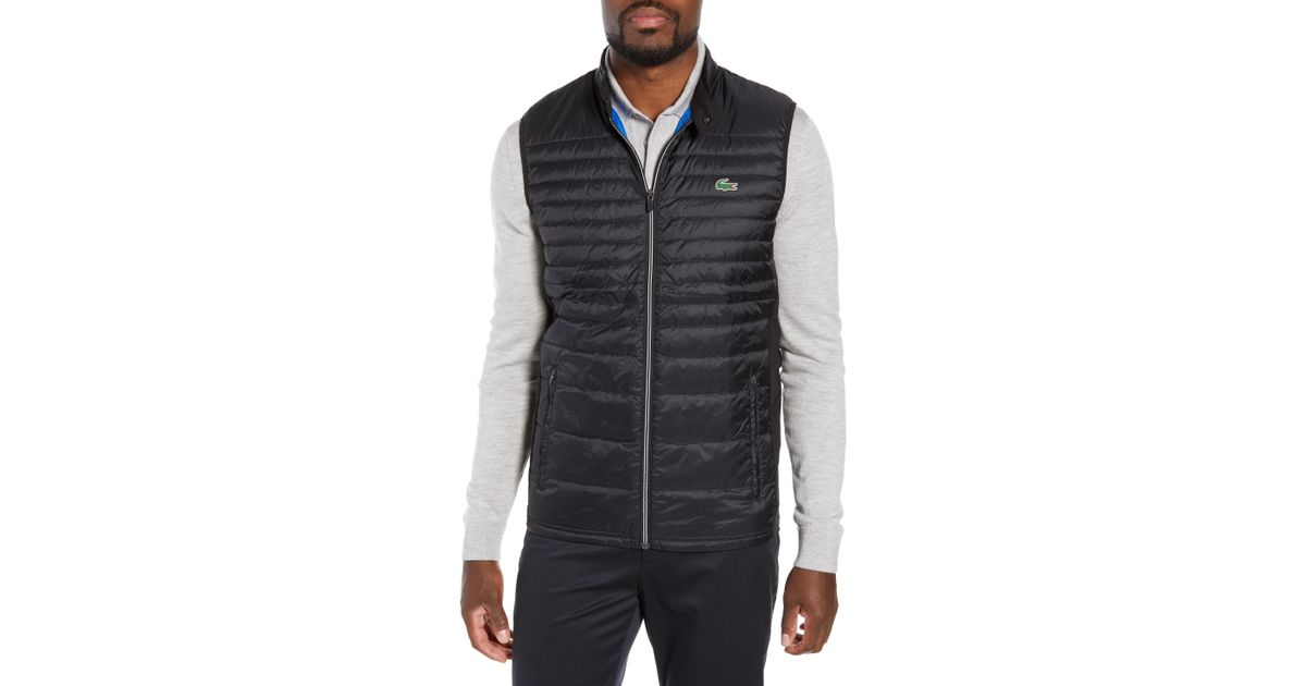 34ca82886f71 Lyst - Lacoste Sport Water Resistant Quilted Down Golf Vest in Black for Men