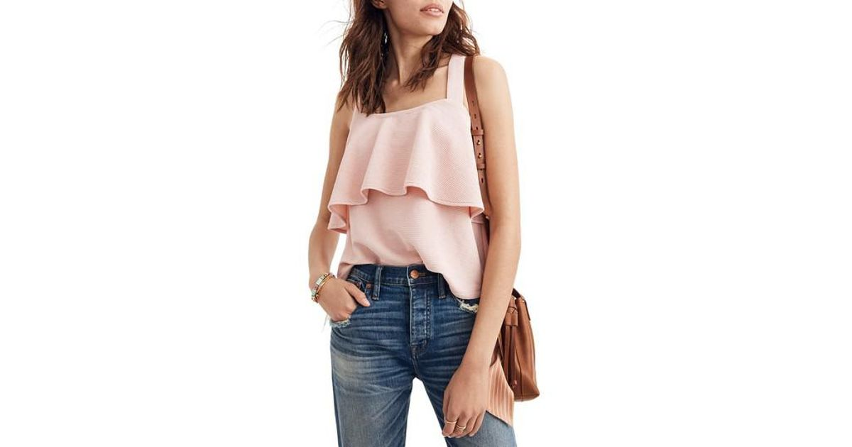 d0abb823fe8458 Lyst - Madewell Texture   Thread Tiered Tank in Pink