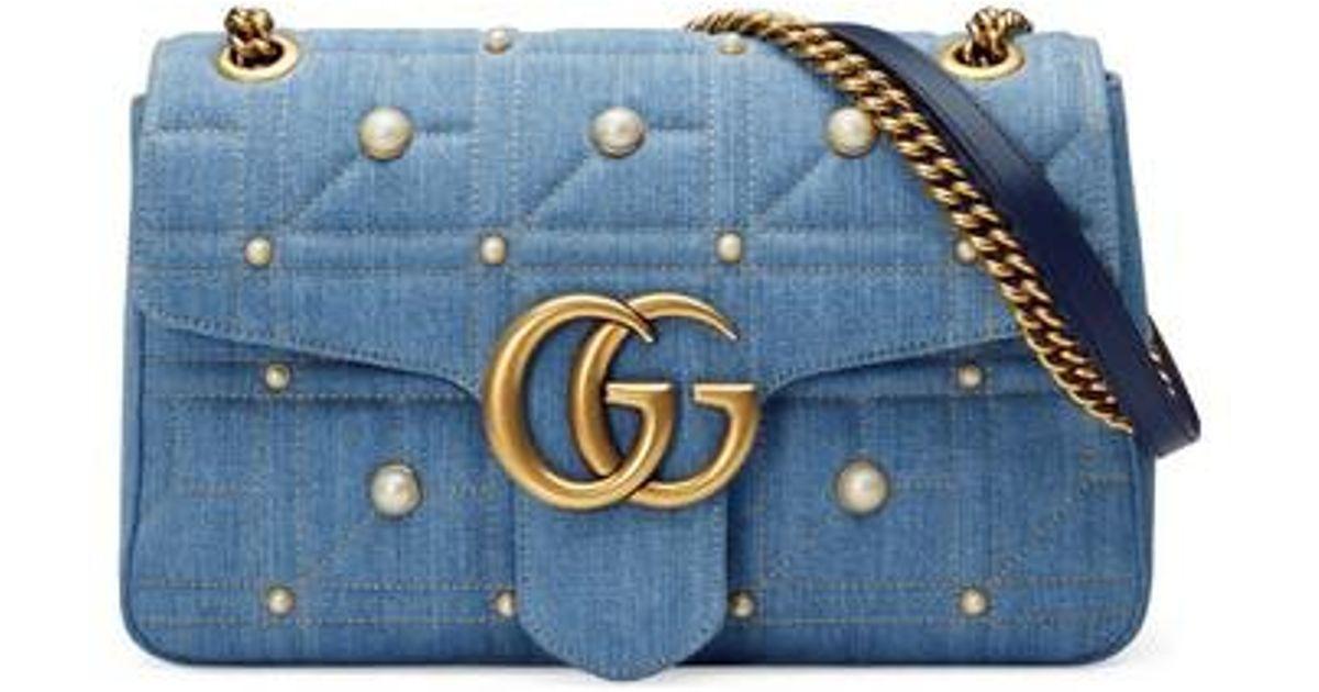 151ad2ec89c8 Gucci Gg Marmont 2.0 Imitation Pearl Embellished Denim Crossbody Bag in Blue  - Lyst