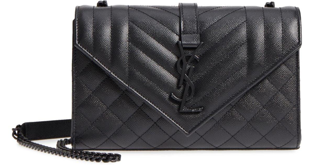 53f825ea Saint Laurent Black Small Cassandre Leather Shoulder Bag