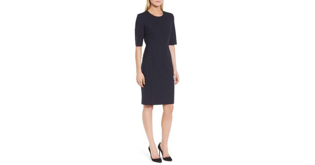 07250cfc BOSS Dalayara Pinstripe Sheath Dress in Blue - Lyst