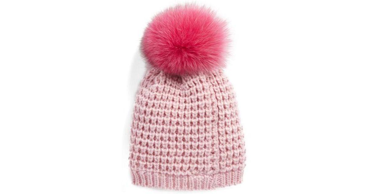fd0094446 Kyi Kyi Pink Genuine Fox Pompom Hat