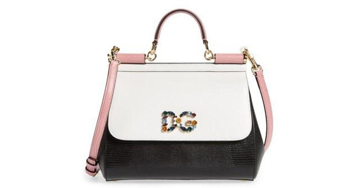 880adbd9fbaf Lyst - Dolce   Gabbana Medium Miss Sicily Crystal Logo Leather Satchel