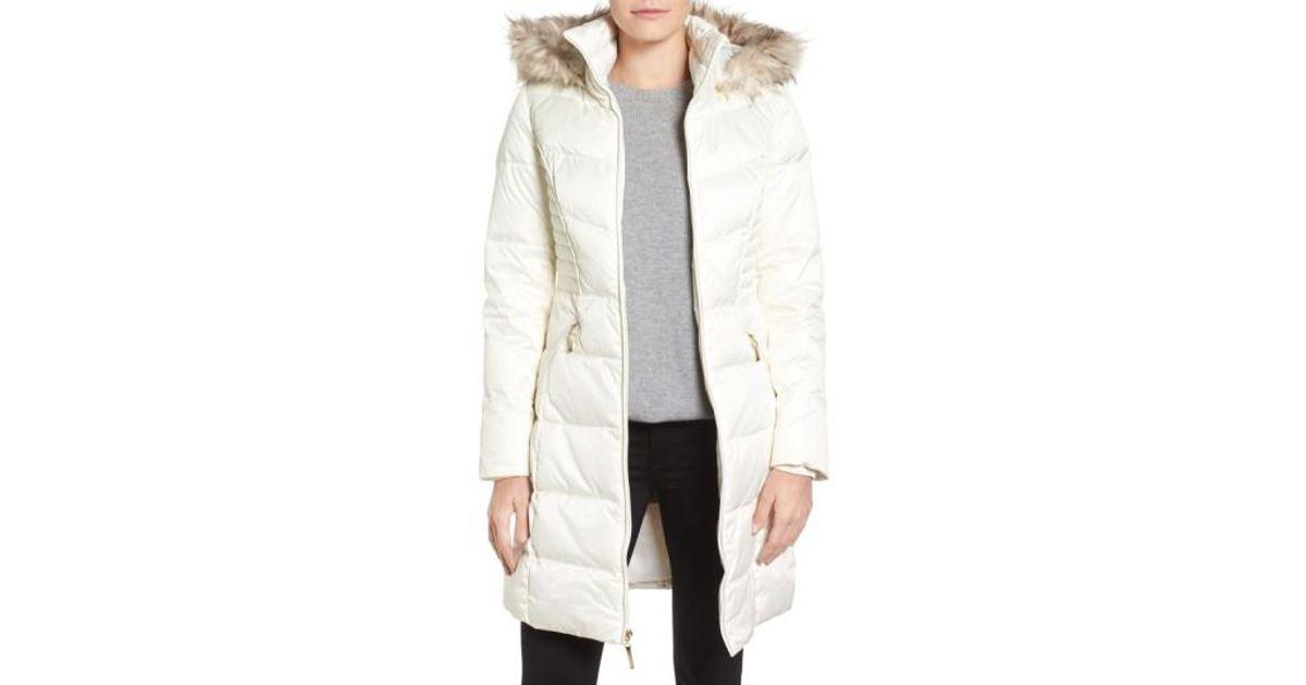 5d736deaa5b Ellen Tracy White Faux Fur Trim Matte Satin Down Coat