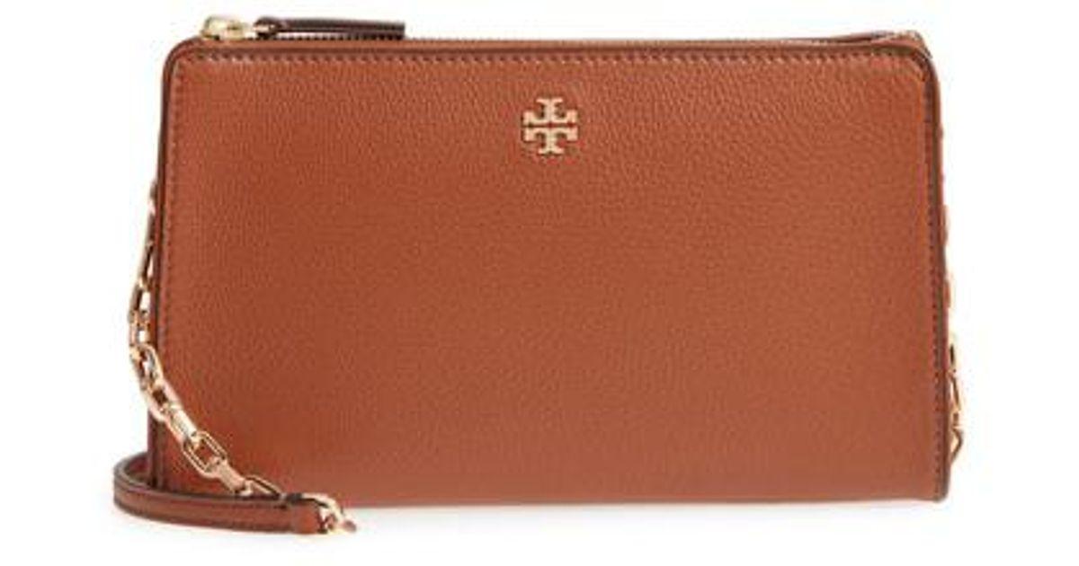 92a6576fdf3 Lyst - Tory Burch Marsden Leather Wallet Crossbody Bag in Brown