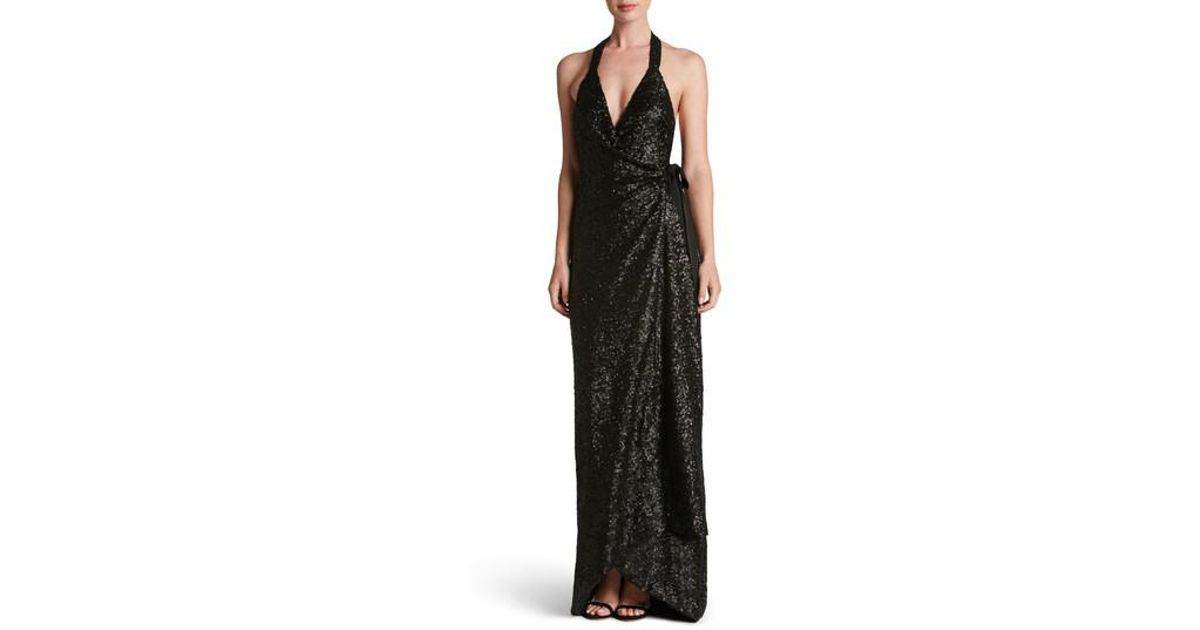 81d373867a0 Lyst - Dress the Population Giselle Sequin Wrap Gown in Black
