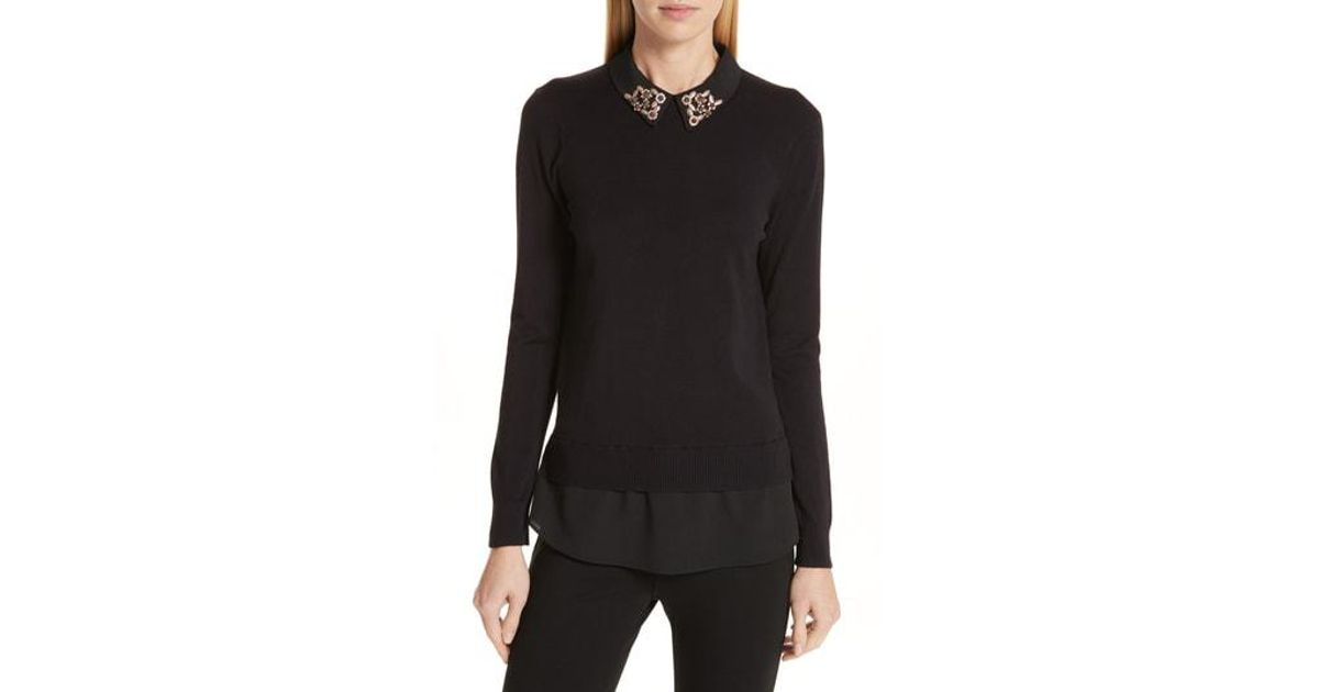 5c5990482c Lyst - Ted Baker Moliiee Embroidered Collar Sweater in Black
