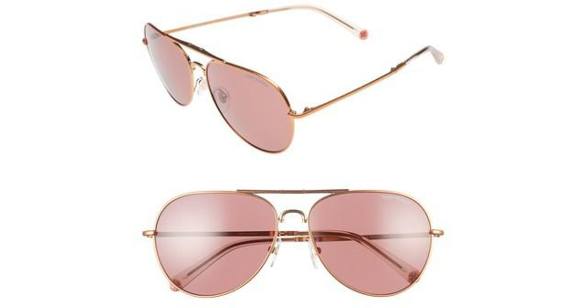 86fd020f0047 Lyst - Tory Burch 58mm Foldable Aviator Sunglasses in Pink