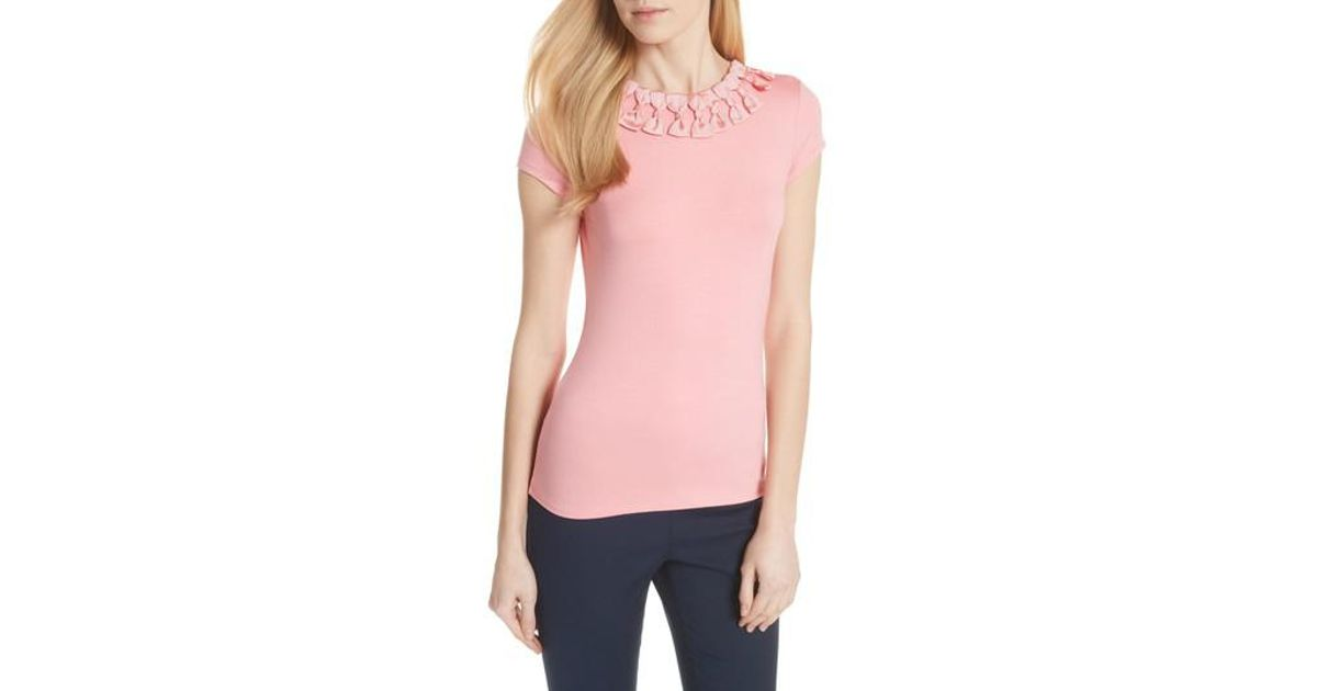 51d73a851 Lyst - Ted Baker Ted Baker Bow Trim Tee in Orange