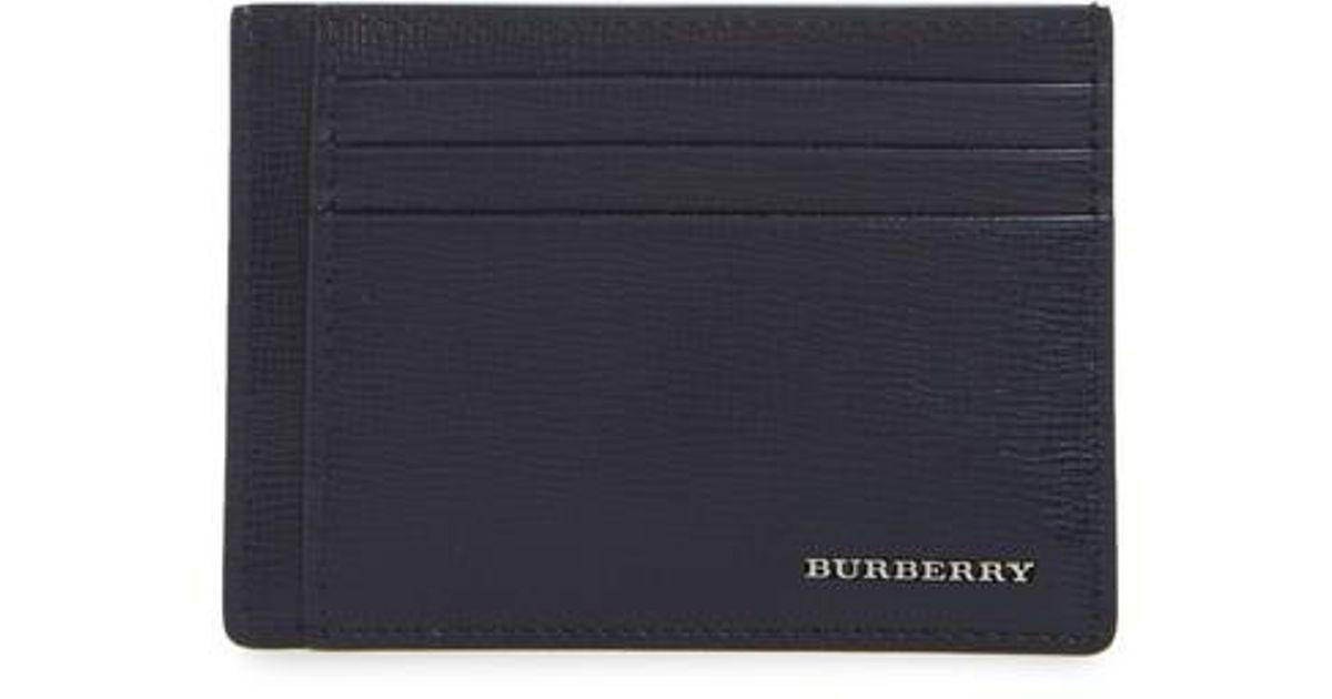 sale retailer b97bd 4fb35 Burberry Blue 'chase' Money Clip Card Case for men