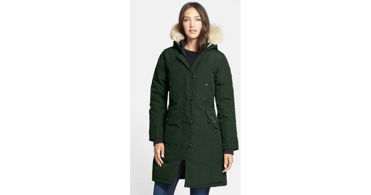 Lyst - Canada Goose Kensington Slim Fit Down Parka With Genuine Coyote Fur Trim in Green