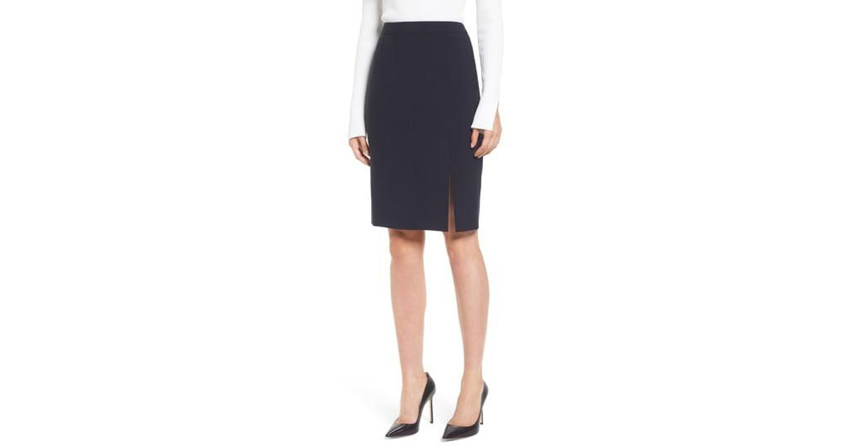 46dbc3df02 Lyst - BOSS Volania Stretch Wool Side Slit Pencil Skirt in Blue