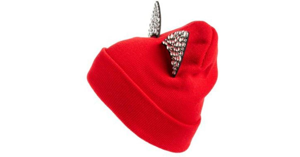 4a9f60b2daa Lyst - Tasha Jeweled Cat Ear Beanie in Red