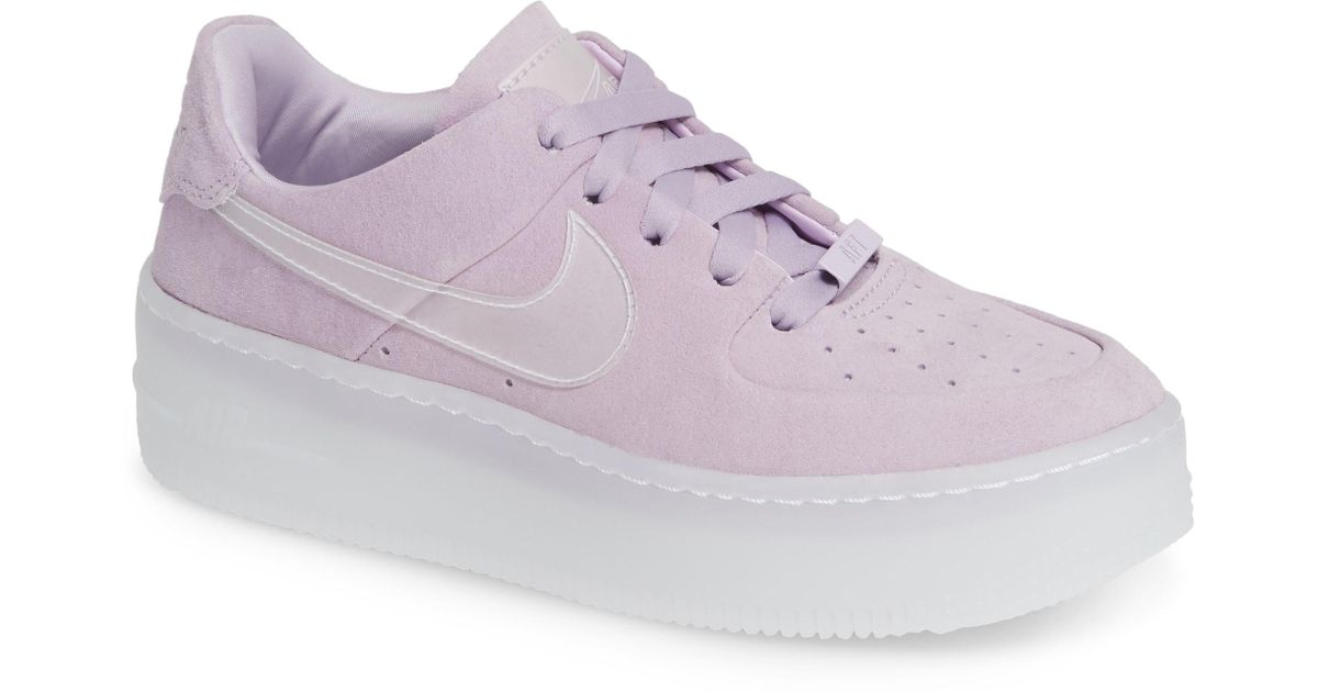 8e6fed12bf34a4 Lyst - Nike Air Force 1 Sage Trainers in Purple - Save 37%
