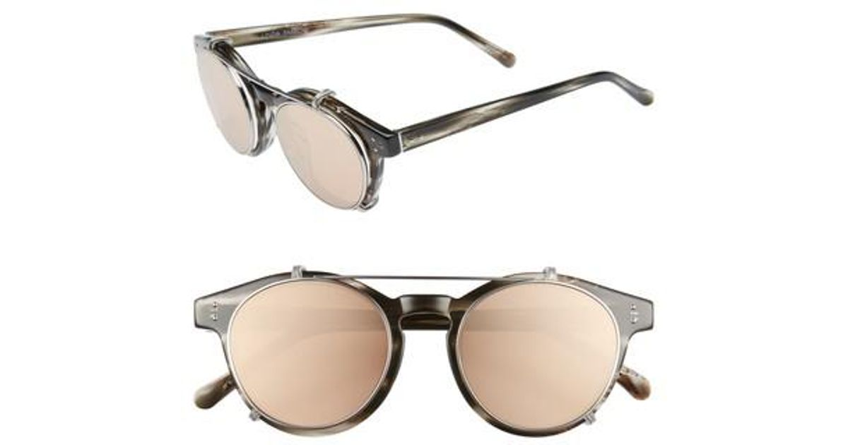 e4771b8cec91 Lyst - Linda Farrow 47mm Optical Glasses With Clip-on 18 Karat Rose Gold  Trim Sunglasses in Metallic