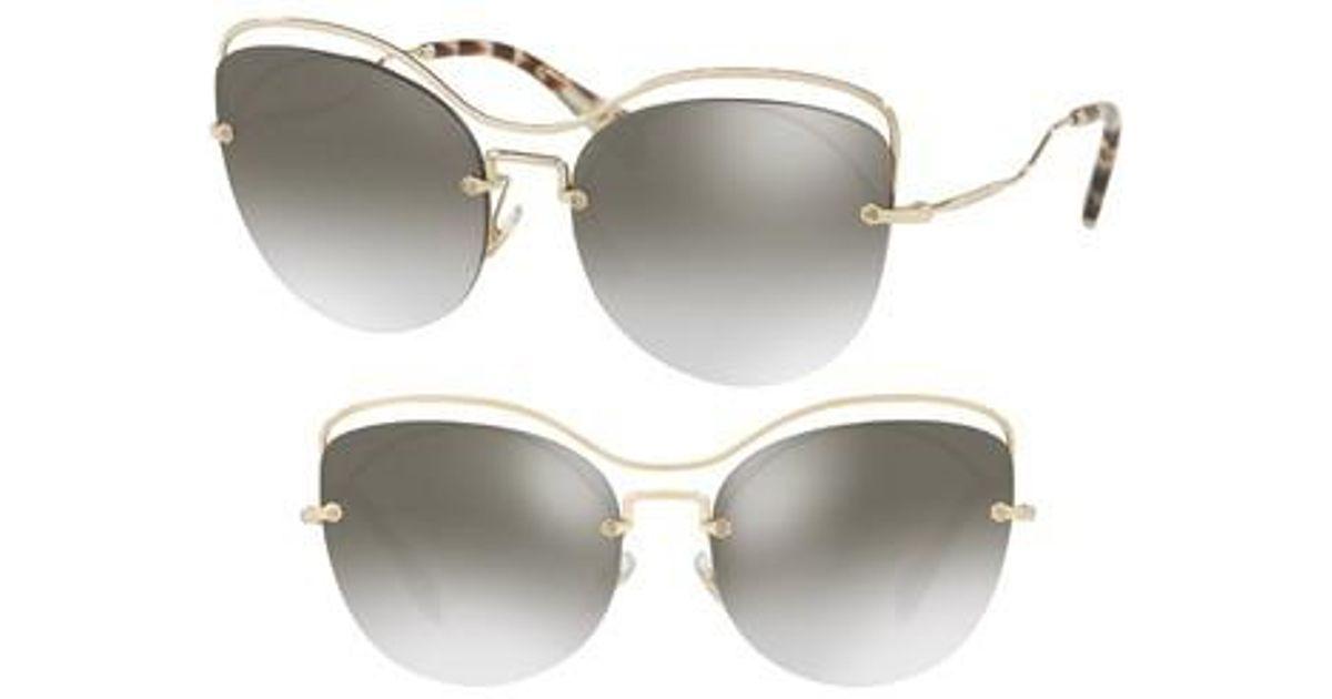 2b3972871727 Lyst - Miu Miu 60mm Mirrored Cat Eye Sunglasses - Pale Gold in Metallic