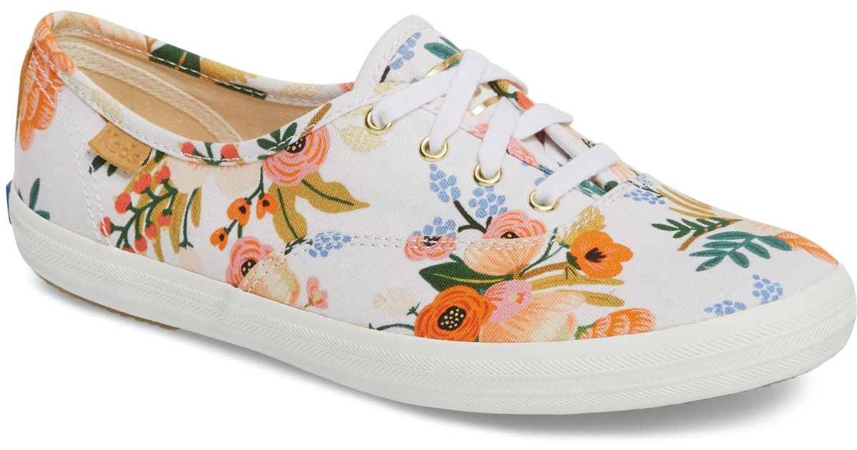 c9dc529ad2 Lyst - Keds Keds X Rifle Paper Co. Champion Floral Print Sneaker in White