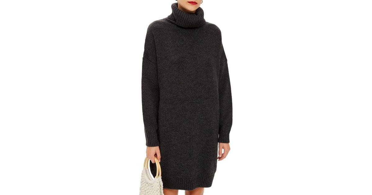 a577d0ba842 Lyst - TOPSHOP Turtleneck Sweater Dress in Black