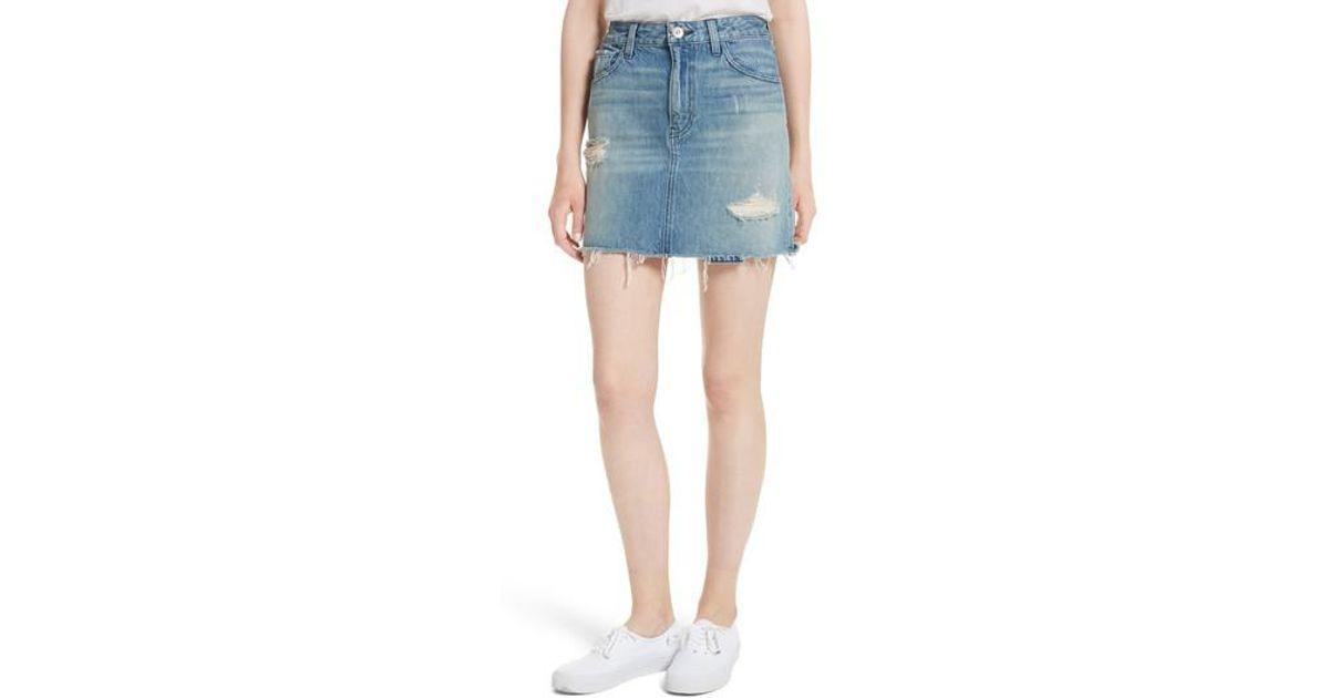0a3e48b18 Lyst - 3x1 Celine Distressed Denim Skirt in Blue