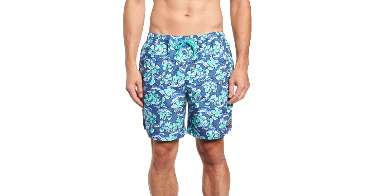 e4a1c6fcaa Lyst - Vineyard Vines Marlin Flowers Chappy Regular Fit Swim Trunks in Blue  for Men
